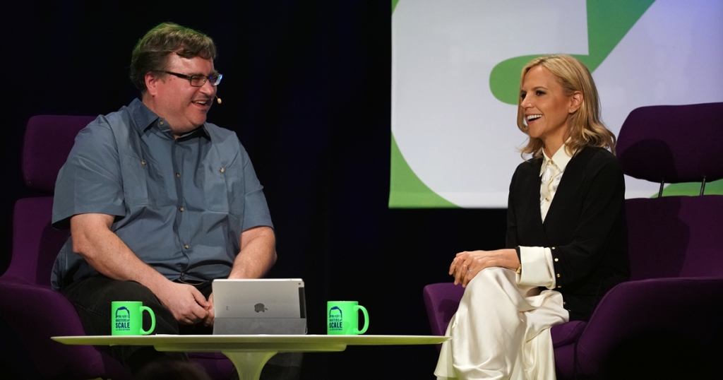 """I feel that you get the best work when you have a great environment, and you're creating a place that people want to come, that's inspiring. It's about excellence, but it's also about being transparent and straightforward, and have a healthy environment. We named it after my dad."" Tory Burch, right, tells host Reid Hoffman about her company's culture, nicknamed ""Buddy Values."""